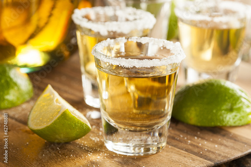 Canvas Print Tequila Shots with Lime and Salt