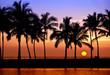 canvas print picture - Hawaiian sunset on Big Island, Anaehoomalu Bay