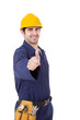 Smiling young worker thumbs up over a white background