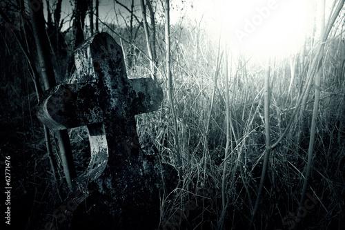 Tuinposter Begraafplaats Cemetery night