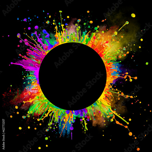 Colored paint splashes in round shape Fototapete