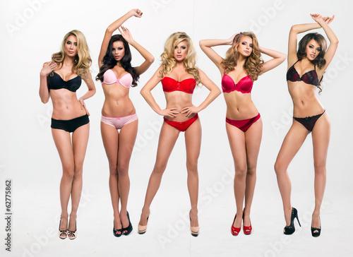 Fotografie, Obraz  beautiful women in full growth pose in lingerie