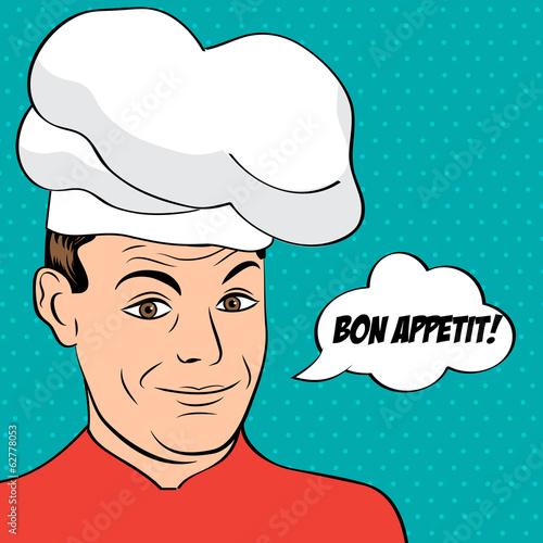 Fotobehang Pop Art pop art man in cooker uniform