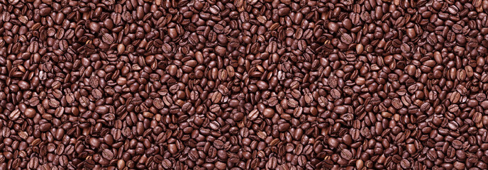 Fototapeta Kawa Panorama of roasted coffee beans