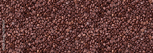 Panorama of roasted coffee beans