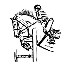 Fototapeta Sport show jumping vector illustration