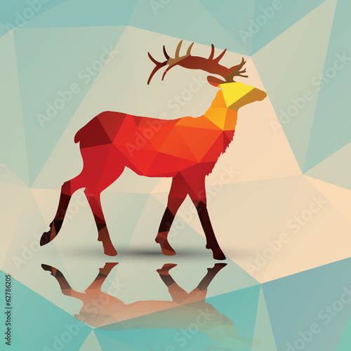Geometric polygonal deer, pattern design, vector