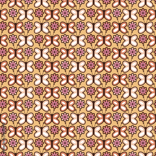 Cute seamless pattern with butterflies and flowers