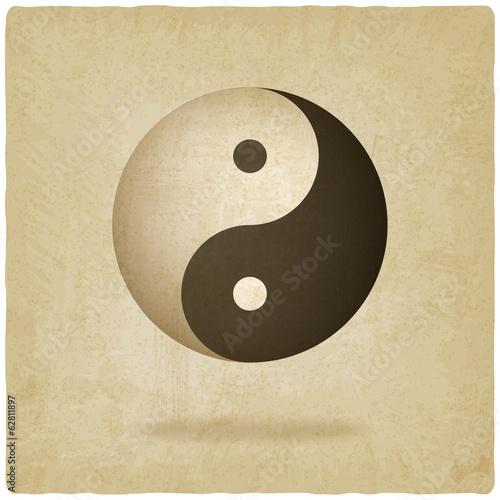 Yin yang old background - vector illustration