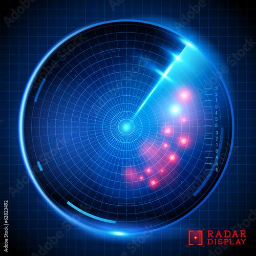 Fotomural  Blue Vector Radar Display