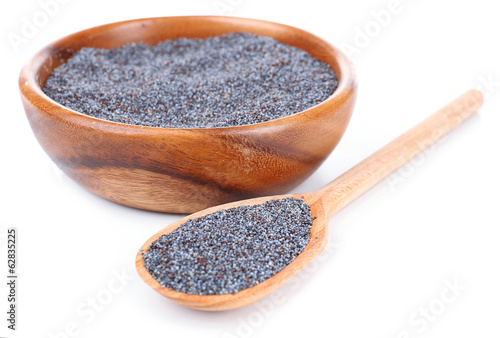 Photo Stands Herbs 2 Poppy seeds isolated on white