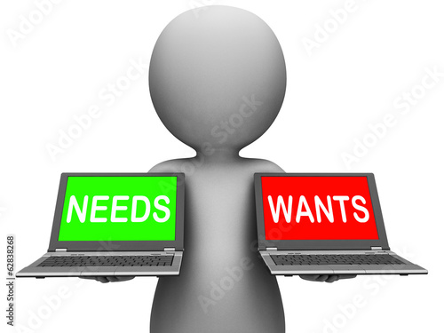Wants Needs Laptops Shows Materialism Want Need Fototapet