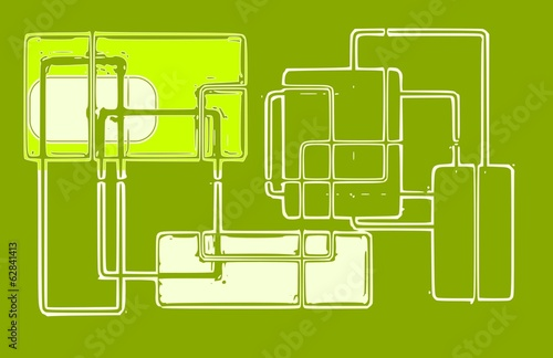 Poster de jardin Route Abstract geometric image - green colour