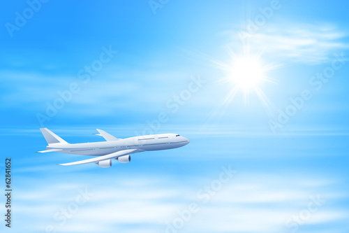 Tuinposter Vliegtuig Illustration of airplane in the sky with sun