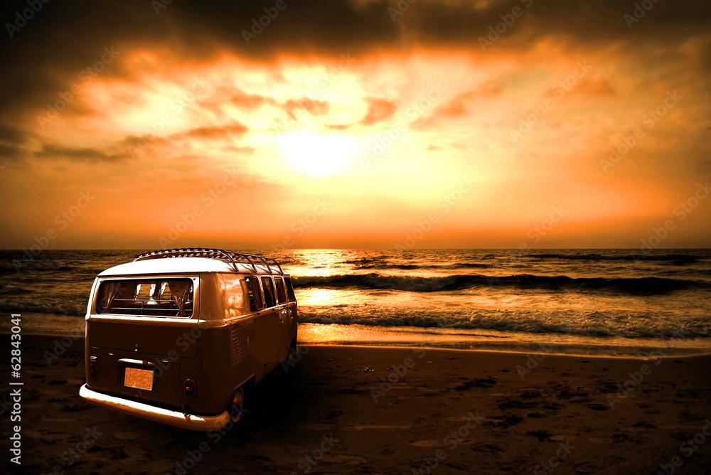 Fotografie, Obraz  Abendsonne mit Bulli