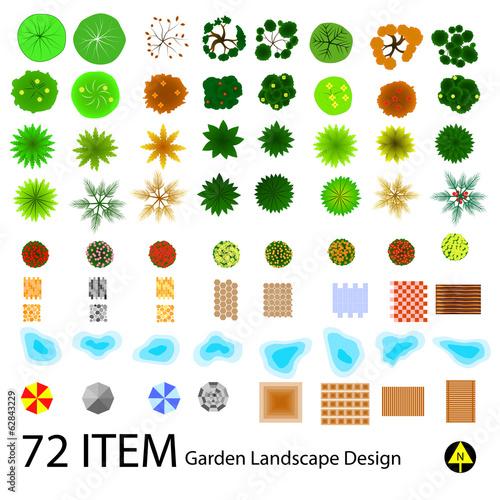 Fotobehang Wit landscape design top view item