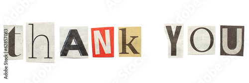 Thank you cutout newspaper letters buy this stock photo and thank you cutout newspaper letters spiritdancerdesigns Choice Image
