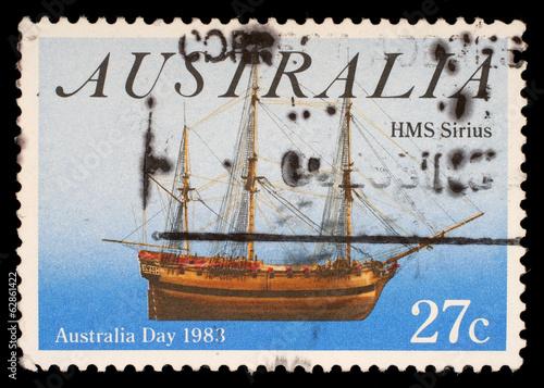 Stamp from Australia shows ship HMS Sirius, circa 1983 Wallpaper Mural