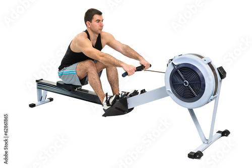 Fotografie, Obraz  man doing indoor rowing