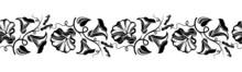Horizontal Seamless Vignette With Bindweed Flowers. Vector.