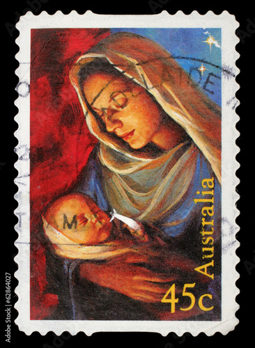 Canvas Prints Imagination Stamp printed in the Australia shows Madonna and Child