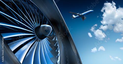 Turbine und Flugzeug Canvas Print