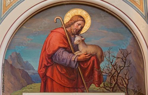 Fototapeta premium Wiedeń - Fresco Jezusa jako dobrego pasterza