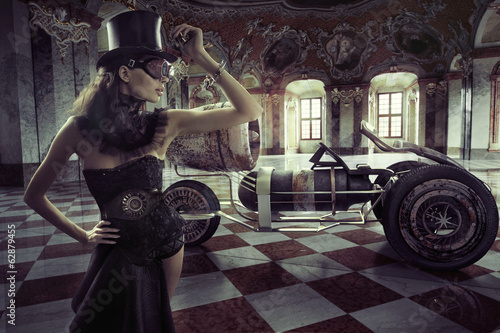 Poster Foto van de dag Fancy clothed woman with retro car