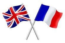 Drapeaux : Grande Bretagne Et France