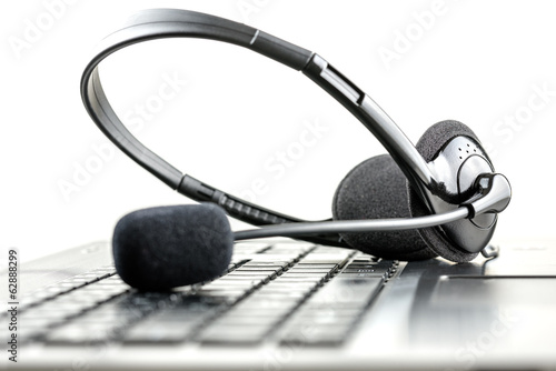Photo Headset on a laptop computer