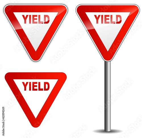 Obraz Vector yield sign - fototapety do salonu