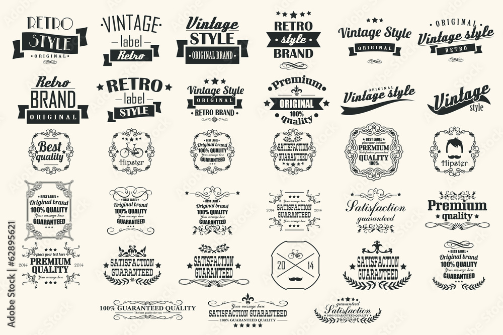 Fototapety, obrazy: Collection of vintage retro labels, badges, stamps, ribbons