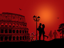 Couple Silhouette In Rome