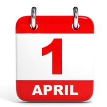 Calendar On White Background. 1 April.