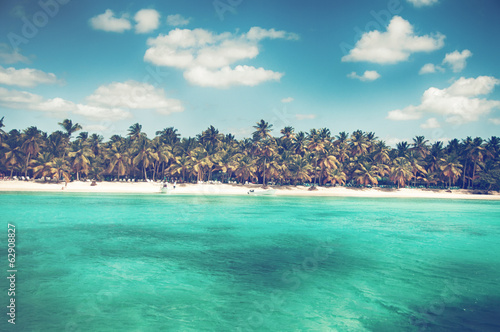Spoed Foto op Canvas Caraïben Wonderful palm coastline of Saona Island, Caribbean