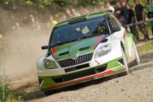 Fotobehang Motorsport Rally car in action, Škoda Fabia S2000