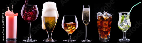 different alcohol drinks set Wallpaper Mural