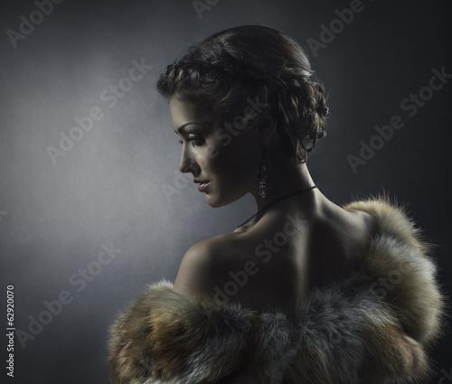Woman beauty in luxury fox fur coat, beautiful retro girl