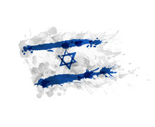 Flag Of Israel Made Of Colorful Splashes