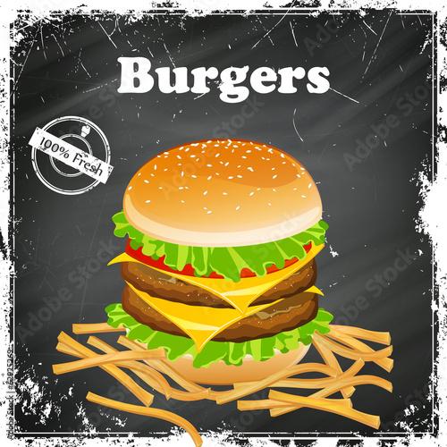 Vector Illustration of a Vintage Burger Poster