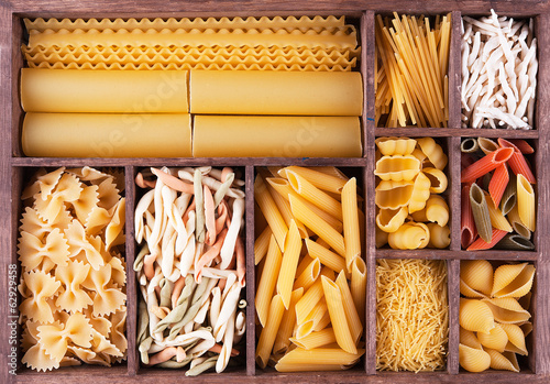 Fotografering  Italian pasta collection in wooden box