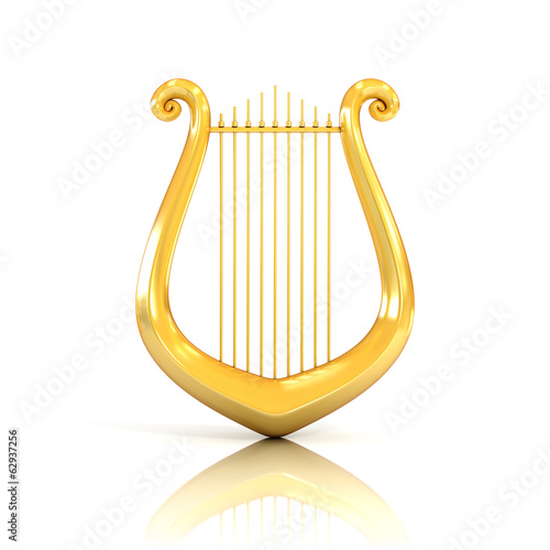 Photo  lyre 3d illustration isolated on white