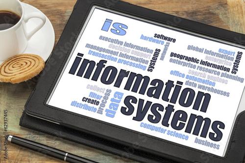 Fotografie, Obraz  information systems word cloud