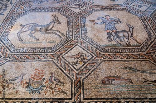 Animal and people mosaics inside Basilica di Aquileia Wallpaper Mural