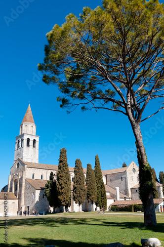 Basilica of Aquileia and tree Canvas Print