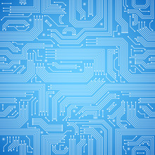 Circuit Board Seamless Blue Pattern