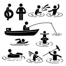 People Children Leisure Swimming Fishing Playing River Water