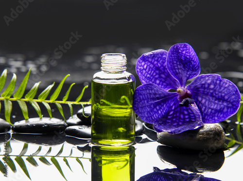Poster Spa Purple orchid and black stones with palm leaf and ,oil