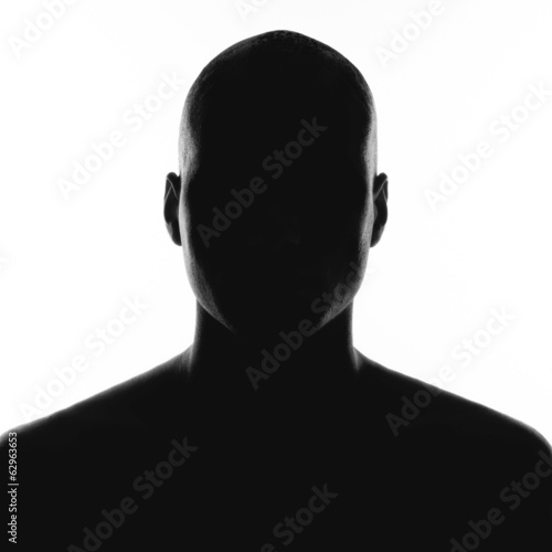 silhouette of the man on a white background Fototapet