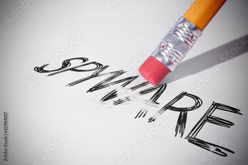 Fotografía  Pencil erasing the word Spyware